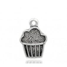 5 Breloques Cupcake Argenté 16x11mm pour la Création de Bijoux Fantaisie - DIY