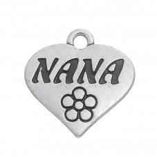 """5 Breloques Coeur """"Nana"""" Argenté 18x18mm pour la Création de Bijoux Fantaisie - DIY"""