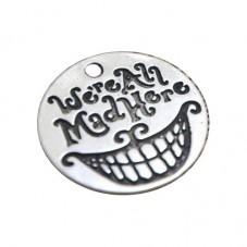 """2 Breloques Chat du Cheshire Thème Alice au Pays des Merveilles """"We're All Mad Here"""" Argenté 20mm pour la Création de Bijoux Fan"""