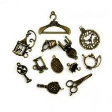 10 Breloques Mixte Bronze 20-50mm pour la Création de Bijoux Fantaisie - DIY
