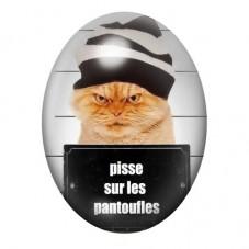 Cabochon en Verre Illustré Humour Chat Coupable 30x40mm