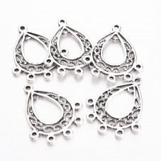 4 Connecteurs Chandelier Argenté 29x25mm pour la Création de Bijoux Fantaisie - DIY