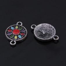 2 Connecteurs Ronds Fleurs Email Argenté 22x15mm pour la Création de Bijoux Fantaisie - DIY
