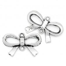 4 Connecteurs Noeuds Papillon Argent 14x21mm pour la Création de Bijoux Fantaisie - DIY