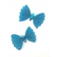2 Grands Noeuds Papillon Connecteurs en Métal 25x37mm pour la Création de Bijoux Fantaisie - DIY