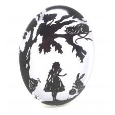 Cabochon en Verre Illustré Chat du Cheshire Noir et Blanc Thème Alice au Pays des Merveilles 30x40mm pour la Création de Bijoux