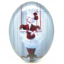 Cabochon en Verre Illustré Femme 30x40mm pour la Création de Bijoux Fantaisie - DIY
