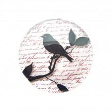 Cabochons en Verre Illustré Oiseau Ecriture 25mm pour la Création de Bijoux Fantaisie - DIY