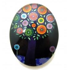 Cabochon en Verre Illustré Arbre Fleurs 30x40mm pour la Création de Bijoux Fantaisie - DIY