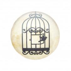Cabochon en Verre Illustré Silhouette Cage Oiseau 25mm pour la Création de Bijoux Fantaisie - DIY