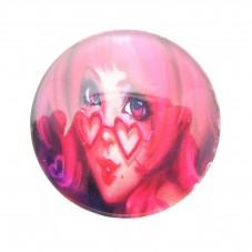 Cabochons en Verre Illustré Fille Lunettes Rose 25mm