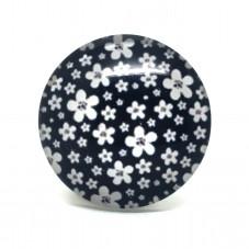 Cabochon en Verre Illustré Fleurs Noir et Blanc 25mm pour la Création de Bijoux Fantaisie - DIY