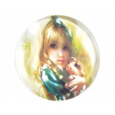 Cabochons en Verre Illustré Petite Fille Cochon 25mm pour la Création de Bijoux Fantaisie - DIY
