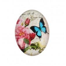 Cabochon en Verre Illustré Papillon Vintage 18x25mm pour la Création de Bijoux Fantaisie - DIY