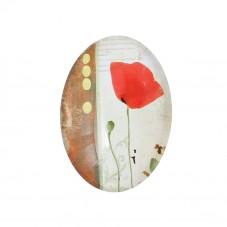 Cabochon en Verre Illustré Coquelicot Fleur 18x25mm pour la Création de Bijoux Fantaisie - DIY