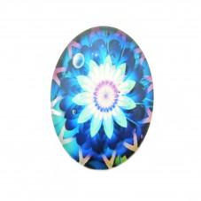Cabochon en Verre Illustré Fleur 18x25mm pour la Création de Bijoux Fantaisie - DIY