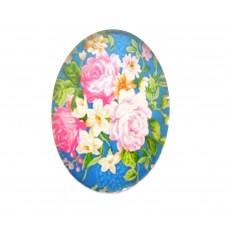 Cabochon en Verre Illustré Fleurs 18x25mm