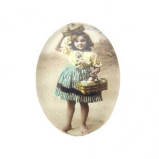 Cabochon en Verre Illustré Petite Fille Vintage 18x25mm pour la Création de Bijoux Fantaisie - DIY