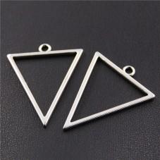 4 Breloques Triangle Argenté 35x21mm pour la Création de Bijoux Fantaisie - DIY