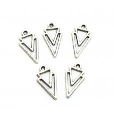 10 Breloques Triangle Argenté 16x19mm pour la Création de Bijoux Fantaisie - DIY