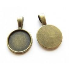 2 Supports Pendentif Bronze pour Cabochon 16mm