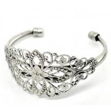 Support Bracelet Ajouré Filigrane Argenté pour la Création de Bijoux Fantaisie - DIY