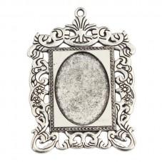 Support Pendentif Cadre Argenté pour Cabochon 18x25mm pour la Création de Bijoux Fantaisie - DIY