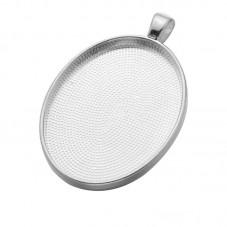 Support Pendentif Argenté pour Cabochon 30x21mm pour la Création de Bijoux Fantaisie - DIY
