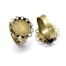 2 Bagues Ajustables Bronze pour Cabochon 12mm pour la Création de Bijoux Fantaisie - DIY