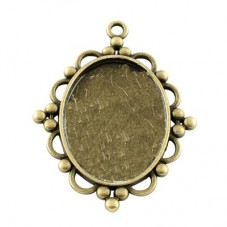 5 Supports Pendentif Bronze pour Cabochon 30x40mm pour la Création de Bijoux Fantaisie - DIY