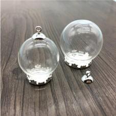 Globe en Verre avec Socle et Attache Argentés 25x15mm pour la Création de Bijoux Fantaisie - DIY
