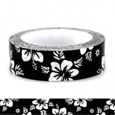 1 Rouleau de Masking Tape Washi Noir et Blanc Fleur 15mmx10m