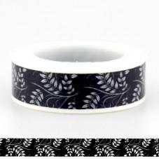 Rouleau de Masking Tape Noir et Blanc Fleur Feuille 15mmx10m