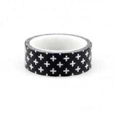 Rouleau de Masking Tape Noir et Blanc Croix 15mmx10m