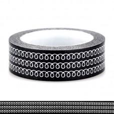 Rouleau de Masking Tape Noir et Blanc Boucle 15mmx10m