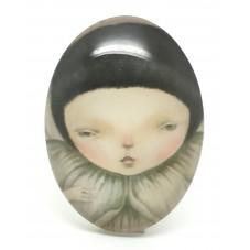 Cabochon en Verre Illustré Enfant Petite Fille 30x40mm pour la Création de Bijoux Fantaisie - DIY