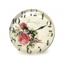 Cabochon en Verre Illustré Horloge Fleurs 20mm pour la Création de Bijoux Fantaisie - DIY