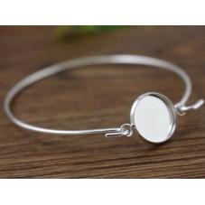 Support Bracelet Argenté pour Cabochon 12mm pour la Création de Bijoux Fantaisie - DIY