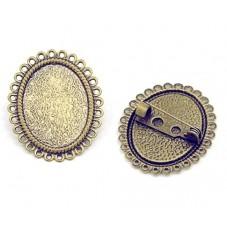 Support Broche Bronze pour Cabochon 18x25mm pour la Création de Bijoux Fantaisie - DIY