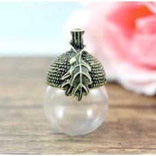 Globe en Verre avec Calotte Bronze Gland Chêne pour la Création de Bijoux Fantaisie - DIY
