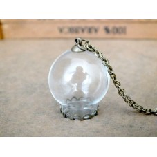 Globe en Verre 25x15mm avec 70 cm de Chaîne Socle et Attache Bronze pour la Création de Bijoux Fantaisie - DIY