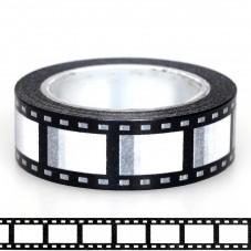 Rouleau de Masking Tape Noir et Blanc Cinéma Pellicule Film 15mmx10m