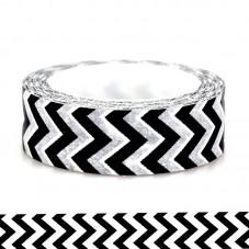 Rouleau de Masking Tape Noir et Blanc Chevron 15mmx10m