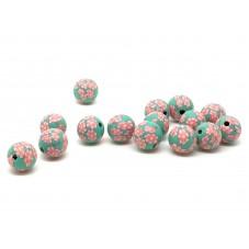 15 Perles Vertes en Pâte Polymère Fimo 8mm pour la Création de Bijoux Fantaisie - DIY