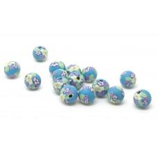 15 Perles Bleues en Pâte Polymère Fimo 8mm