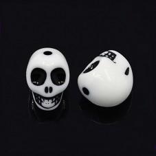 5 Perles Tête de Mort Crâne en Acrylique Gothique Halloween pour la Création de Bijoux Fantaisie - DIY