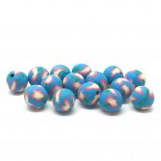 15 Perles Bleues en Pâte Polymère Fimo 8mm pour la Création de Bijoux Fantaisie - DIY