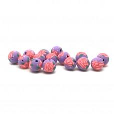 15 Perles Mauves en Pâte Polymère Fimo 8mm