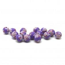 15 Perles Violettes en Pâte Polymère Fimo 8mm