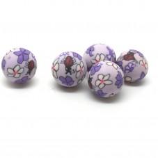 5 Perles mauves en Pâte Polymère Fimo 14mm